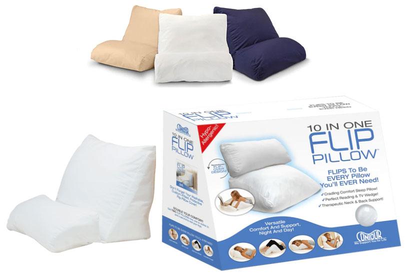 Contour Flip Pillow: Versatile 10-in-1 Multipurpose Flip Bed Wedge Pillow